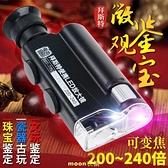 放大鏡200倍240led帶燈光學迷便攜顯微鏡你鑒定放大器鑒定 現貨快出