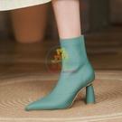 短靴 35-39 潮尖頭氣質短靴女2021秋冬新款粗跟彈力靴裸靴瘦瘦靴時裝靴【樂淘淘】