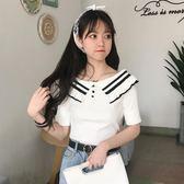 夏裝新款女裝正韓荷葉邊一字領打底上衣修身顯瘦針織衫短袖T恤女禮物限時八九折