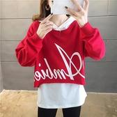 兩件套頭衛衣2021新款潮ins寬鬆韓版超火cec紅色秋裝漢元素女外套  伊蘿