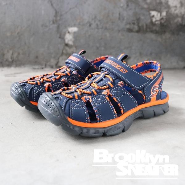 Skechers Relix Trophix 深藍 灰底橘邊 涼鞋 中童(布魯克林)2019/2月 92189LNVOR