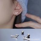 耳環 對勾耳釘螺旋耳堵純銀針簡約氣質小巧耳飾耳環新款潮螺絲擰扣 星河光年