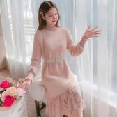 半高領連身裙女韓版中長款蕾絲拼接時尚毛絨打底衫【聚可愛】
