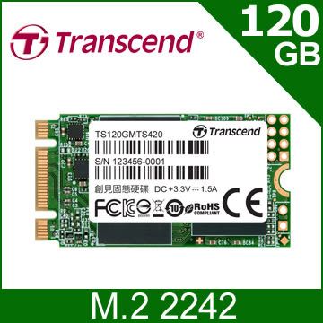 【福利品】創見MTS420S 120G M.2 2242 SATA SSD 固態硬碟(TS120GMTS420S)