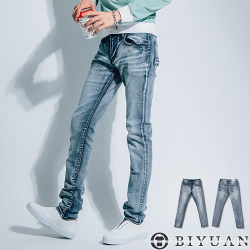 牛仔褲【P2005】OBI YUAN韓版鬼洗抓痕刷白英國旗貼布彈性單寧休閒褲