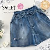 【封館5折】(大童款-女)甜美綁帶牛仔短褲熱褲(310458)