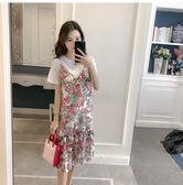 孕婦裝夏裝連身裙2018新款時尚潮媽碎花吊帶裙夏季上衣短袖兩件套 熊貓本