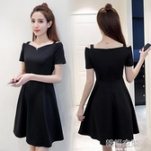 洋裝 2021夏季新款大碼女裝短袖洋裝遮肚顯瘦一字肩吊帶赫本風小黑裙 【韓語空間】