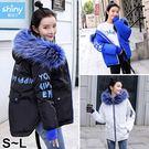 【V9144】shiny藍格子-溫暖冬意.百搭時尚大毛領字母羽絨棉襖外套