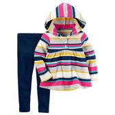 Carter's平行輸入童裝 女寶寶寶 連帽長袖上衣及長褲 彩虹條紋【CA239G479】