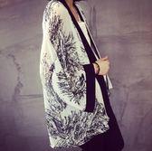 雙11好評再續秋冬上衣潮新款日本古風小和服古著印花朵雪紡寬鬆防曬衫清新脫俗復古外套