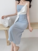 禮服 2020夏季新款溫柔超仙心機開叉吊帶洋裝女氣質顯瘦藍色禮服裙子