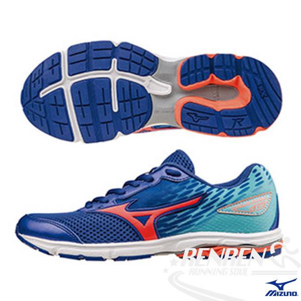 MIZUNO 美津濃 WAVE RIDER 19 Jnr. 大童鞋(深藍*橘紅*水藍)