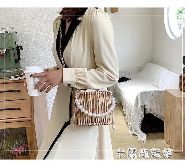 編織包 小包包女新款潮流行時尚洋氣編織百搭單肩斜挎草編包 618大促銷