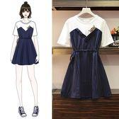 海外直發不退換短袖洋裝禮服9980#大碼女裝新款時尚假兩件洋氣減齡拼接連衣裙(M3F 特1-A)