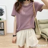 素色T恤 寬鬆圓領短袖T恤女夏韓版百搭顯瘦簡約素色舒適透氣亞麻休閒上衣 愛麗絲