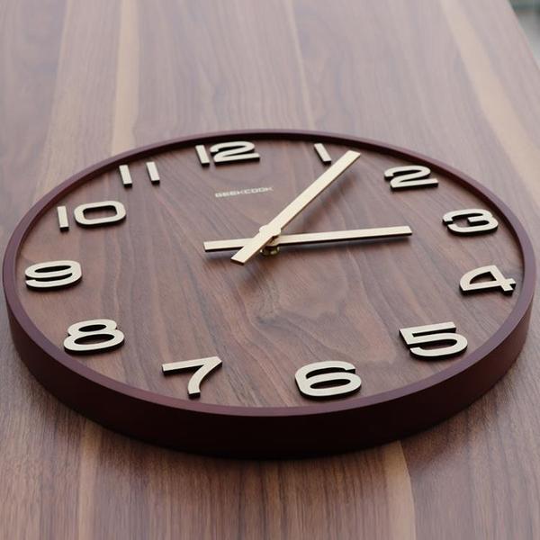 新中式掛鐘客廳靜音鐘木質時鐘中國風輕奢鐘錶家用石英鐘復古掛錶 安雅家居館