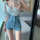 高腰 牛仔短褲女 2021年 新款 夏季 寬鬆 直筒褲子 網紅 百搭顯瘦 a字熱褲