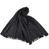 美國正品 COACH 經典小C LOGO羊毛混絲薄圍巾-黑色【現貨】