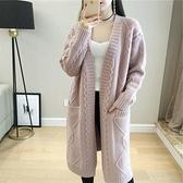 長款針織外套慵懶風毛衣外套女中長款針織開衫2021春秋季新款韓版寬鬆學生顯瘦 雲朵走走