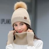 女冬天韓版潮毛球帽護耳帽圍脖手套套裝針織帽 萬客居