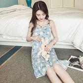 85折 韓版學生睡衣女夏短袖甜美可愛吊帶睡裙中裙 【99狂歡購】