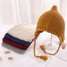 春秋兒童新品套頭帽子男女童護耳嬰幼兒可愛手工針織防風帽
