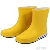 春夏北歐情侶簡約休閒時尚雨鞋男士中筒雨鞋平底水鞋膠鞋防水防滑 創意新品