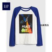 Gap男童 妙趣圖案插肩長袖圓領T恤 402419-光感亮白