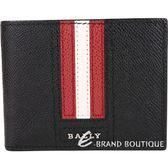 BALLY TEVYE 經典紅白條紋黑色六卡對折短夾 1840248-01