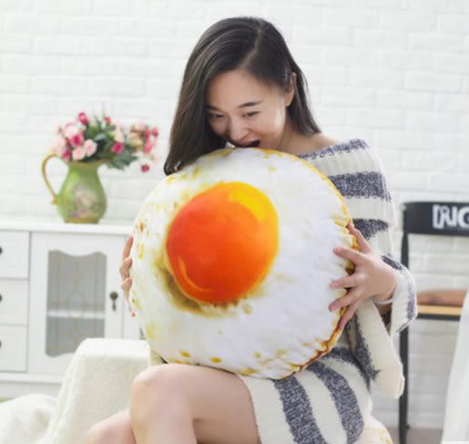創意仿真荷包蛋造型抱枕 蛋黃抱枕 靠枕 靠墊