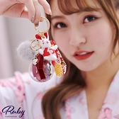 鑰匙圈 可愛兔子毛球永生花綴飾鑰匙圈-Ruby s 露比午茶