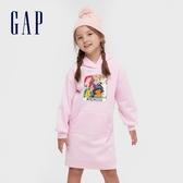 Gap女童 Gap x Disney 迪士尼公主系列童趣印花連帽洋裝 614246-淡粉色