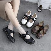 日系春英倫小皮鞋女百搭女鞋學院風圓頭娃娃鞋可愛絲帶少女鞋梗豆物語