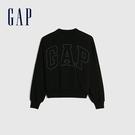 Gap女裝 Logo簡約風格寬鬆款休閒上衣 620508-黑色