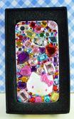 【震撼精品百貨】Hello Kitty 凱蒂貓~HELLO KITTY iPhone4貼鑽手機殼-彩色寶石