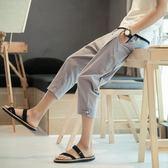 中國風哈倫褲七分褲男夏季2018新款褲子亞麻休閒褲寬鬆7分褲短褲