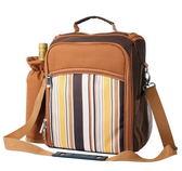 野餐包 含2人餐具組-咖啡雙人套裝便攜防水膠底肩背手提包包68ag9[時尚巴黎]
