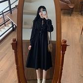 大碼洋裝 大碼女裝胖mm法式小眾長袖遮肚顯瘦連身裙女減齡赫本風心機小黑裙  芊墨左岸 上新