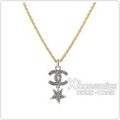CHANEL 雙C LOGO星星設計鑽鑲飾項鍊(金x銀)