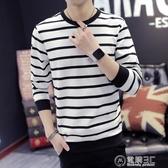 春秋季新款長袖t恤男士韓版修身海魂裝青少年條紋打底衫 雙十一全館免運