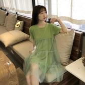 牛油果綠連身裙女夏2019新款韓版設計感小眾顯瘦洋氣短袖網紗裙子