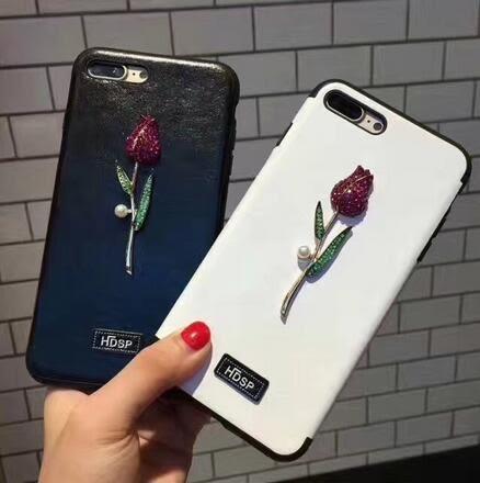 【SZ62】奢華玫瑰花iPhone6 plus手機殼iphone7 plus保護殼水鑽玫瑰花