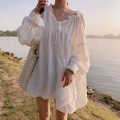 韓版超仙V領漏鎖骨心機設計感蓬蓬下擺燈籠袖娃娃襯衫裙上衣女夏 春生雜貨