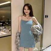 夏季新款韓版網紅吊帶裙寬鬆針織打底連身裙性感包臀短裙女 新年钜惠