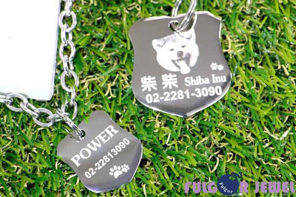 【Fulgor Jewel】富狗 客製化寵物吊牌名牌 徽章造型  不鏽鋼材質 免費雕刻單面(限文字)