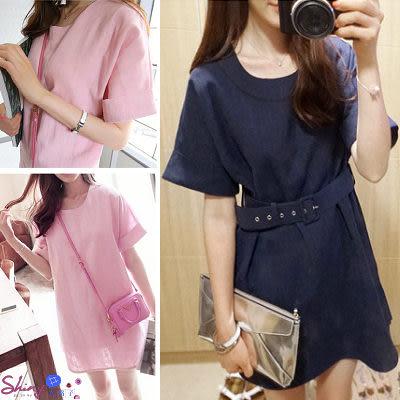 【T20530】shiny藍格子-清新之約.甜美圓領寬鬆短袖連身裙