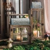 玻璃風燈 燭台裝飾藝術擺件花園庭院復古懷舊鐵藝 露露日記