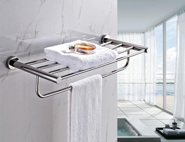 浴室 衛浴 置衣架 放衣架 毛巾架 置物架 304不銹鋼(拋光亮面) 上下雙層收納 質優型美!
