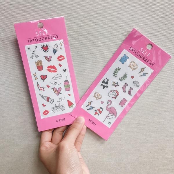 APIEU 夏日可愛紋身貼紙 TATOOGRAPHY 夏日風格 粉紅鶴